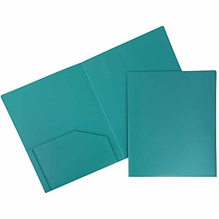 "JAM Paper® Heavy-Duty 2-Pocket Plastic Presentation Folders, 9"" x 12"", Sea Blue, Pack Of 6"