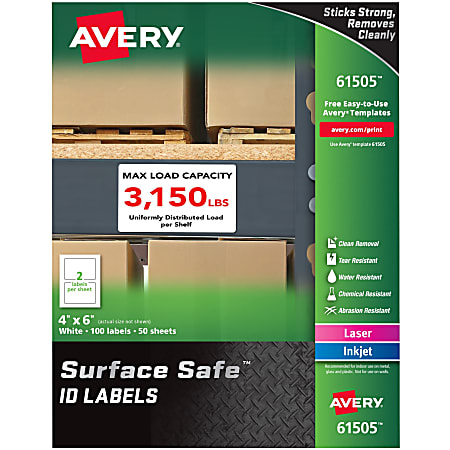 """Avery® Surface Safe ID Labels - Removable Adhesive - 4"""" Width x 6"""" Length - Rectangle - Laser, Inkjet - White - Polyester - 2 / Sheet - 50 Total Sheets - 100 / Pack"""