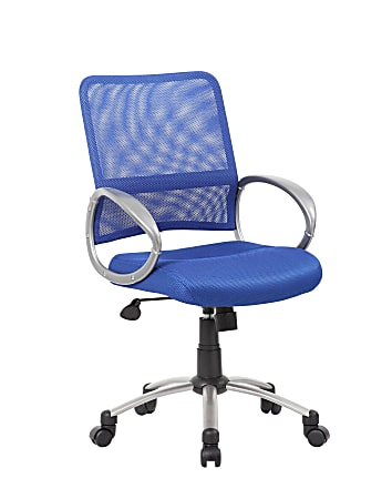 "Boss Mesh Back Chair - Blue Mesh Seat - Chrome, Black Pewter Frame - 5-star Base - Blue - 19"" Seat Width x 18.50"" Seat Depth - 25"" Width x 25"" Depth - 1 Each"