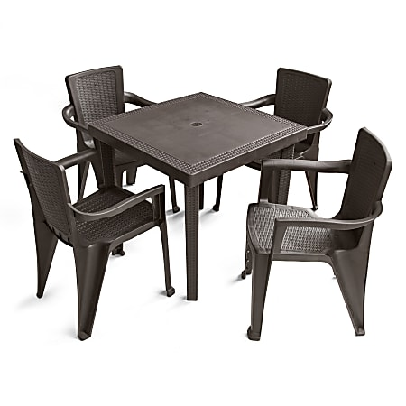 Inval 5-Piece Table And Chair Set, Espresso