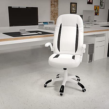 Flash Furniture Ergonomic Bonded LeatherSoft™ High-Back Swivel Chair, White/Black