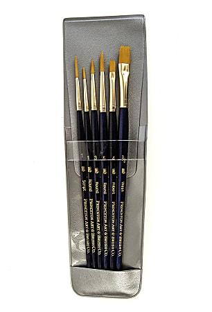 Princeton Real Value Paint Brush Set Series 9132, Assorted Bristles, Taklon, Blue, Set Of 6