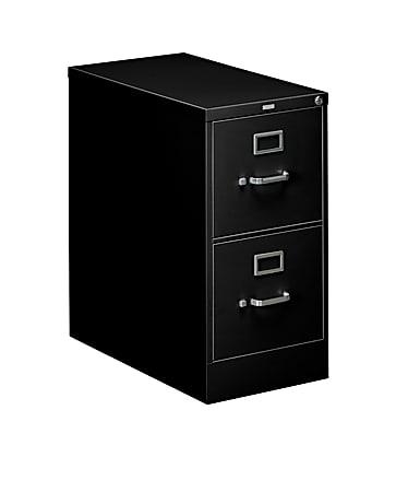 """HON® 310 26-1/2""""D Vertical 2-Drawer Letter-Size File Cabinet, Metal, Black"""