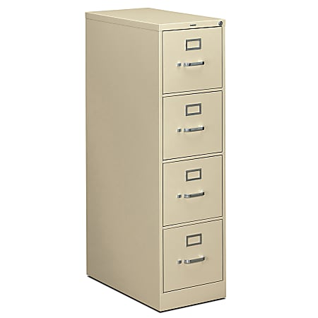 """HON® 310 26-1/2""""D Vertical 4-Drawer Letter-Size File Cabinet, Metal, Putty"""