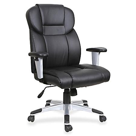 Lorell® Ergonomic Bonded Leather High-Back Executive Chair, Black