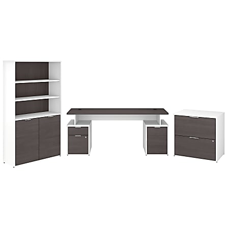 """Bush Business Furniture Jamestown 72""""W Desk With Storage, File Cabinets And 5-Shelf Bookcase, Storm Gray/White, Standard Delivery"""