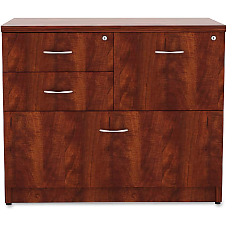 """Lorell® Essentials 35-1/2""""W Lateral 4-Drawer Combo File Cabinet, Cherry"""