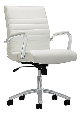 Realspace® Modern Comfort Winsley Bonded Leather Mid-Back Manager's Chair, White/Silver