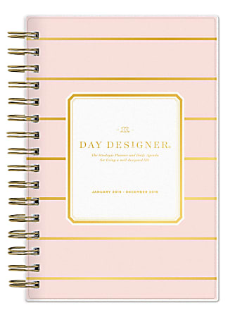 """Day Designer For Blue Sky™ Daily/Monthly Planner, 5"""" x 8"""", Skinny Blush Stripe, January to December 2019"""