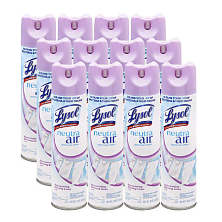 Lysol® Neutra Air Sanitizing Sprays, 10 Oz, Morning Linen Scent, Pack Of 10 Sprays