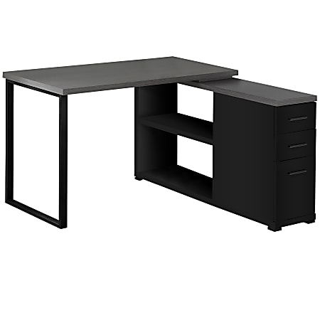 """Monarch Specialities Eliza 48""""W L Shaped Computer Desk With 48"""" Return, Black/Gray"""