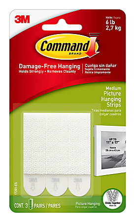 Command™ Medium Picture Hanging Strips, Damage-Free, White, Pack of 3 Pairs of Strips