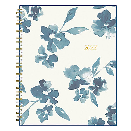 """Blue Sky™ Frosted Weekly/Monthly Safety Wirebound Planner, 8-1/2"""" x 11"""", Bakah Blue, January To December 2022, 137261"""
