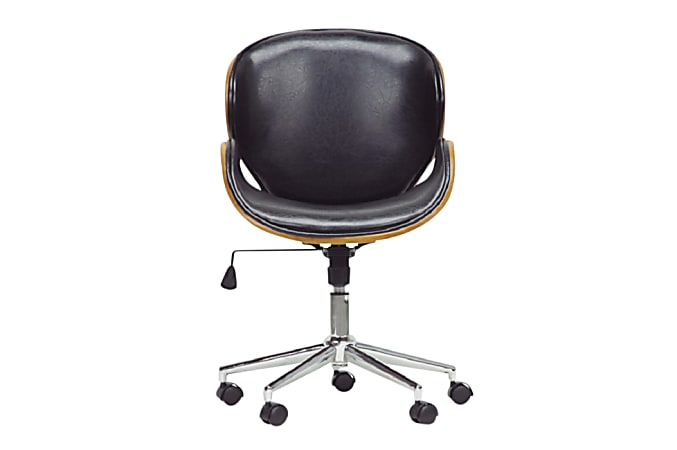 Baxton Studio Johann Mid-Back Office Chair, Black/Walnut