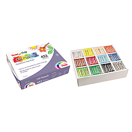 Pentel Oil Pastel Set With Carrying Case, Assorted
