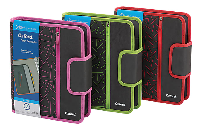 """Oxford™ Open-Tab 3-Ring Binder, 2"""" Round Rings, Assorted Colors"""