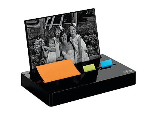 Post-it® Notes Pop-Up Note And Flag Dispenser With Photo Frame, Black