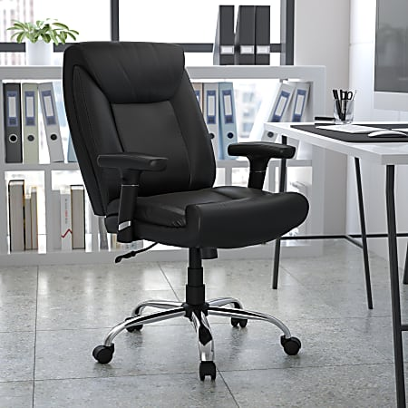 Flash Furniture Hercules Big And Tall Ergonomic Bonded LeatherSoft™ Mid-Back Swivel Task Chair With Adjustable Arms, Black