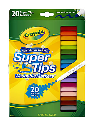 Crayola® Washable Markers, Super Tip, Assorted Colors, Box Of 20