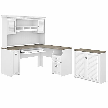 """Bush Furniture Fairview 60""""W L-Shaped Desk With Hutch And Small Storage Cabinet, Shiplap Gray/Pure White, Standard Delivery"""