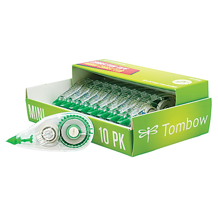 """Tombow® Mono® Correction Tape, Mini, 1/6"""" x 315"""", 60% Recycled, White, Pack Of 10"""