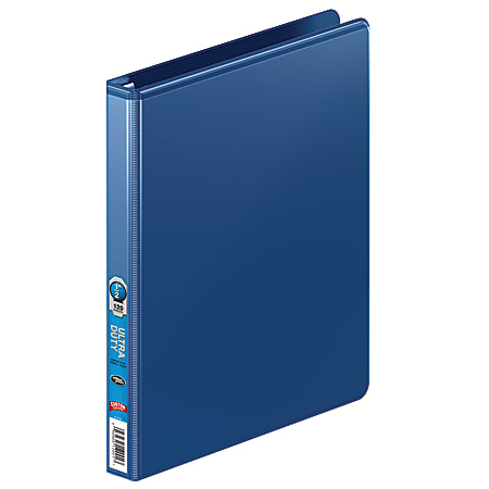 """Wilson Jones® Ultra-Duty Single-Touch Locking View 3-Ring Binder, 1/2"""" Round Rings, 58% Recycled, Blue"""