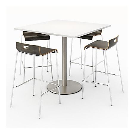 KFI Studios Square Bistro Pedestal Table With 4 Stacking Bar Stools, Designer White/Espresso