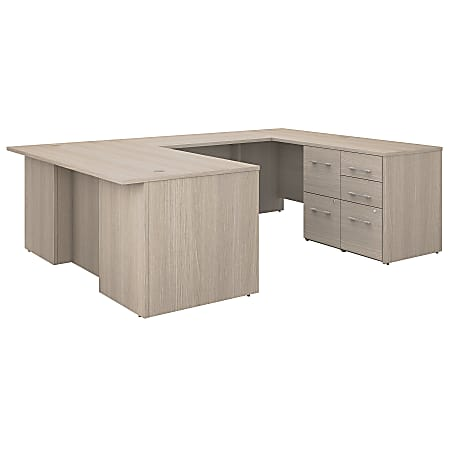 "Bush Business Furniture Office 500 72""W U-Shaped Executive Desk With Drawers, Sand Oak, Standard Delivery"