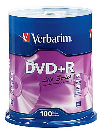 Verbatim® Life Series DVD+R Spindle, Pack Of 100