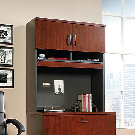 Sauder® Via Lateral File Hutch, Classic Cherry/Soft Black