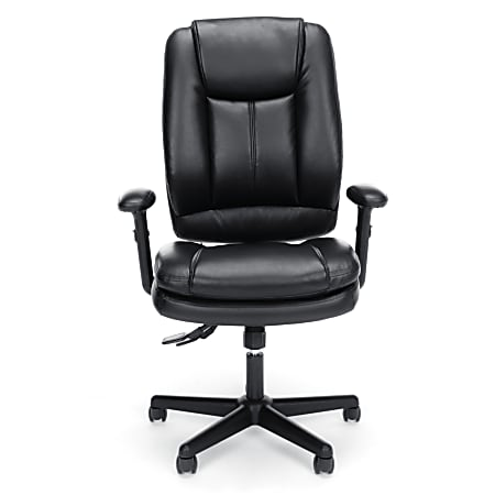 OFM Essentials Bonded Leather High-Back Chair, Black/Silver