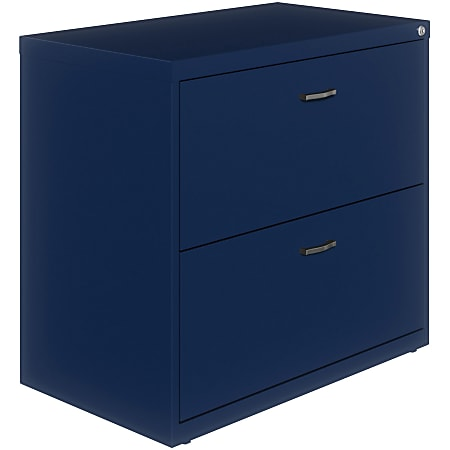 "Lorell® 36""W Lateral 2-Drawer File Cabinet With Arc Pull, Navy"