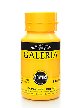 Winsor & Newton Galeria Flow Formula Acrylic Colors, 500 mL, Cadmium Yellow Deep Hue, 115