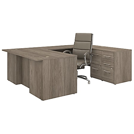 """Bush Business Furniture Office 500 72""""W U-Shaped Executive Desk With Drawers And High-Back Chair, Modern Hickory, Standard Delivery"""