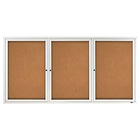 "Quartet® Classic Enclosed Cork Bulletin Board, 36"" x 72"", Aluminum Frame With Silver Finish"