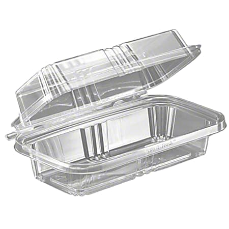 """Safe-T-Fresh Rectangle Hoagie/Sub Hinged Food Containers, 8"""", Clear, Pack Of 150 Containers"""