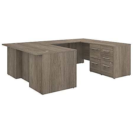 """Bush Business Furniture Office 500 72""""W U-Shaped Executive Desk With Drawers, Modern Hickory, Premium Installation"""