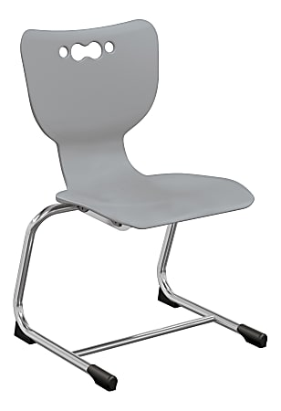 """Hierarchy Stackable Cantilever Student Chairs, 16"""", Gray/Chrome, Set Of 5 Chairs"""