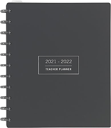 TUL® Discbound Monthly Teacher Planner, Letter Size, Gray, July 2021 To June 2022