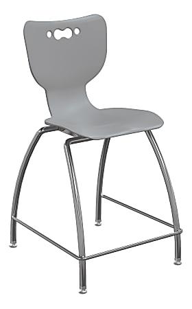 "Hierarchy 4-Leg School Stool, 24"", Gray/Chrome"