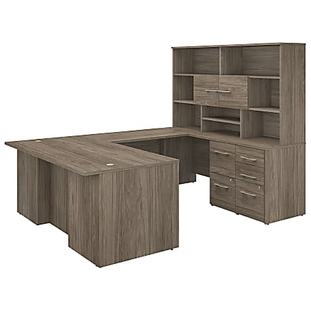 """Bush Business Furniture Office 500 72""""W U-Shaped Executive Desk With Drawers And Hutch, Modern Hickory, Premium Installation"""