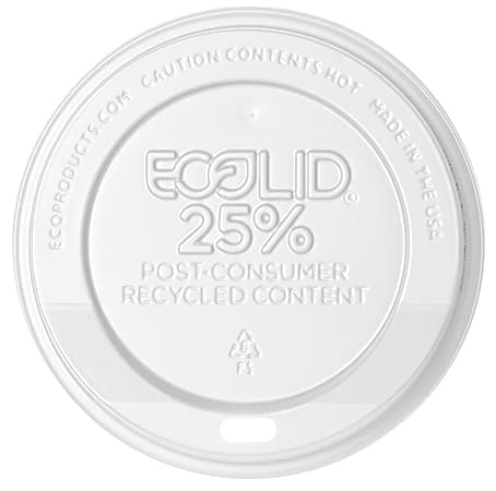 Eco-Products EcoLid Hot Cup Lids, 20 Oz, 25% Recycled, Off White, Case Of 600 Lids