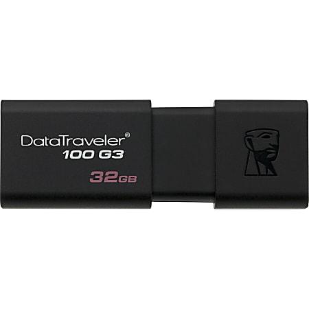 Kingston DataTraveler 100 G3 USB Flash Drive - 32 GB - USB 3.0 - 100 MB/s Read Speed - Black - 5 Year Warranty - 2 Pack