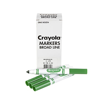 Crayola® Washable Broad Line Markers, Green, Pack Of 12 Markers