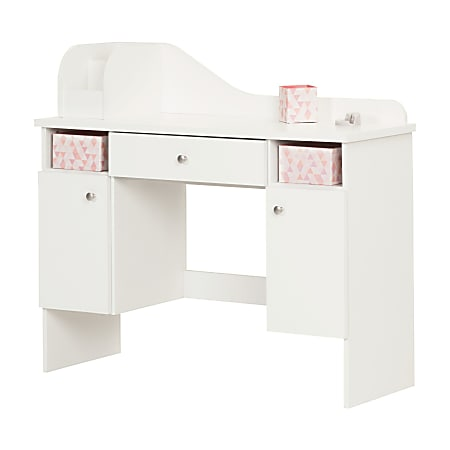 South Shore Vito Makeup Desk With Drawer, Pink/Pure White