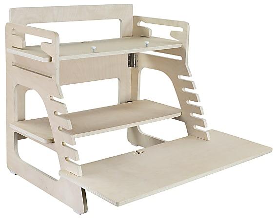 """Mount-It MI-7959 Height-Adjustable Wood Standing Desk, 22-5/8""""H x 31-3/4""""W x 3-13/16""""D, Brown"""