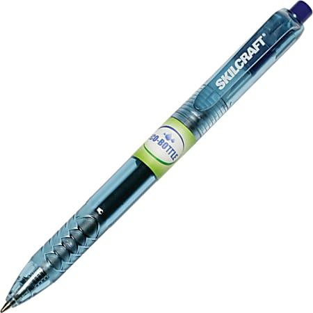 SKILCRAFT® 100% Recycled Retractable Gel Pens, 0.7 mm, Transparent Barrel, Blue Ink, Pack Of 12