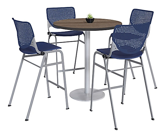 "KFI Studios KOOL Round Pedestal Table With 4 Stacking Chairs, 41""H x 36""D, Studio Teak/Navy"