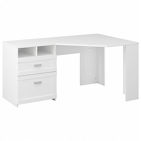 """Bush Furniture Wheaton 60""""W Reversible Corner Desk With Storage, Pure White, Standard Delivery"""