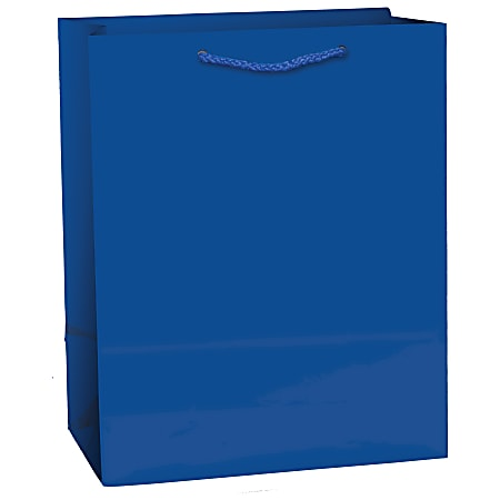 "Amscan Glossy Medium Gift Bags, 9-1/2""H x 7-3/4""W x 4-1/2""D, Bright Royal Blue, Pack Of 10 Bags"